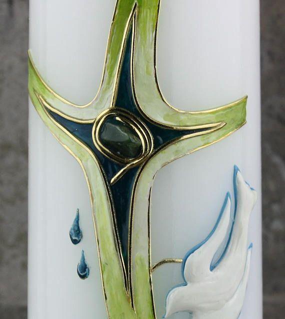 Taufkerze Edelstein grün blau türkis Taufgeschenk für