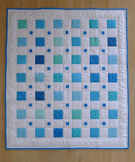 Blue Boy BABY QUILT modern squares