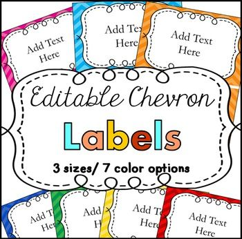 Labels! These cute chevron labels are editable. Just click on the label to add text. Perfect for your classroom. The color coding is especially helpful in preschool, kindergarten, first grade, and second grade classrooms!
