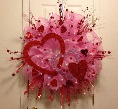 VALENTINE'S DAY DECO MESH DOOR WREATH - Pink Red White - LARGE