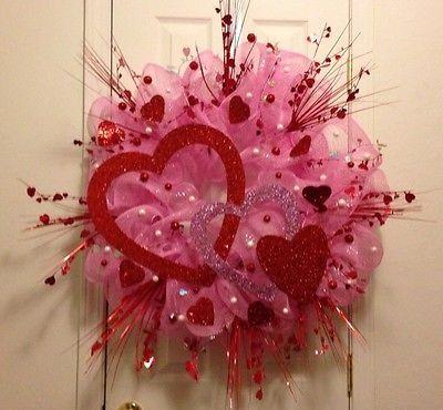 VALENTINE'S DAY DECO MESH DOOR WREATH - Pink Red White - LARGE