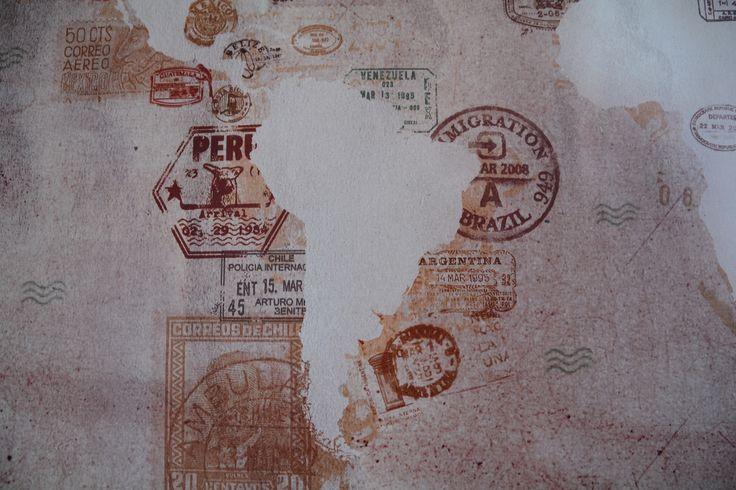 Vintage Stamps Design World Map - Detail