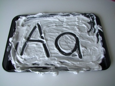 Alphabet letters with shaving cream...my kids love this!