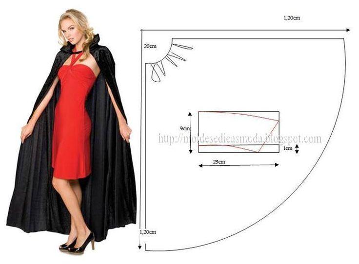 PASSO A PASSO MOLDE DE CAPA Corte duas alturas de tecido, sobreponha um sobre o outro. Marque altura de 20 cm, arredonde. Faça um compasso com a ajuda de u