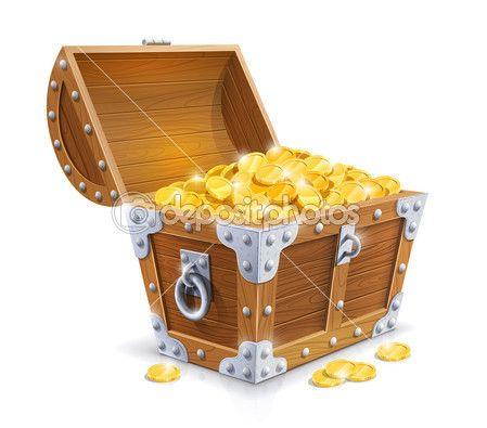 Старинный деревянный сундук с Золотая монета — стоковая иллюстрация #20952929