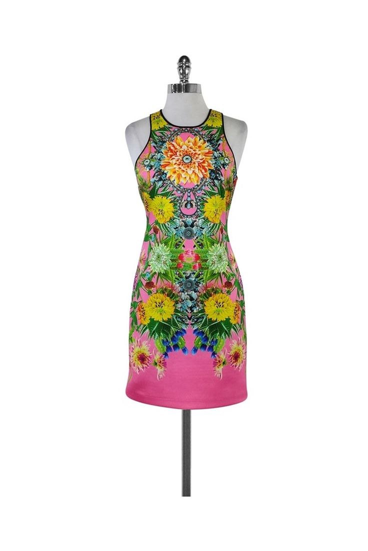 Clover Canyon- Hot Pink Floral Print Neoprene Dress Sz M   Current Boutique