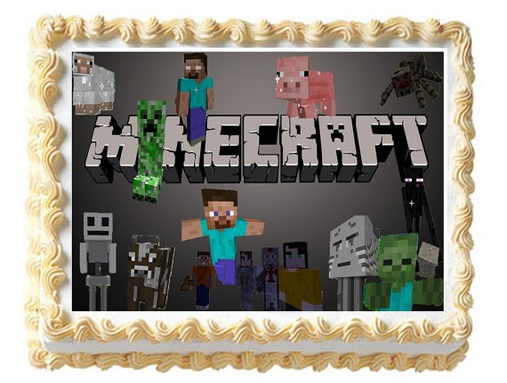 Minecraft Edible Cake Topper Image Birthday Or By
