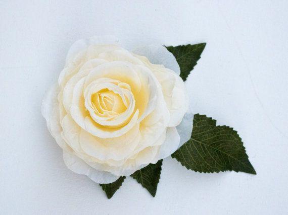 White roze flower bridal headpiece, wedding headpiece, wedding hair accessories, flower hair clip