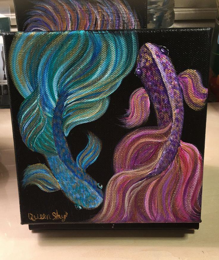 More Beta Fish   #ArtIsLife #betafish #fish #rainbow #QueenShyArt #metallic #Gold #acrylic #acrylicpainting #paint #painter #Art #artwork #artist #artistsoninstagram #artworkforsale #sketch #sketchoftheday #sketchbook #draw #drawing #drawingoftheday #painterslife #fineart #wallart #homedecor #room #aquarium #beta