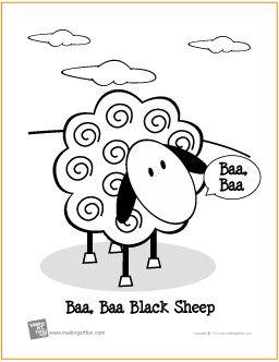 Baa, Baa, Black Sheep | Free Coloring Page - http://makingartfun.com/htm/f-maf-printit/black-sheep-coloring-page.htm