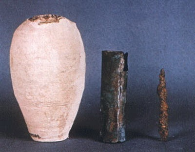 The Baghdad Battery, sometimes referred to as the Parthian Battery, is the common name for a number of artifacts created in Mesopotamia, possibly during the Parthian or Sassanid period (the early centuries AD) ~ So interesting - read more here & http://en.wikipedia.org/wiki/Baghdad_Battery