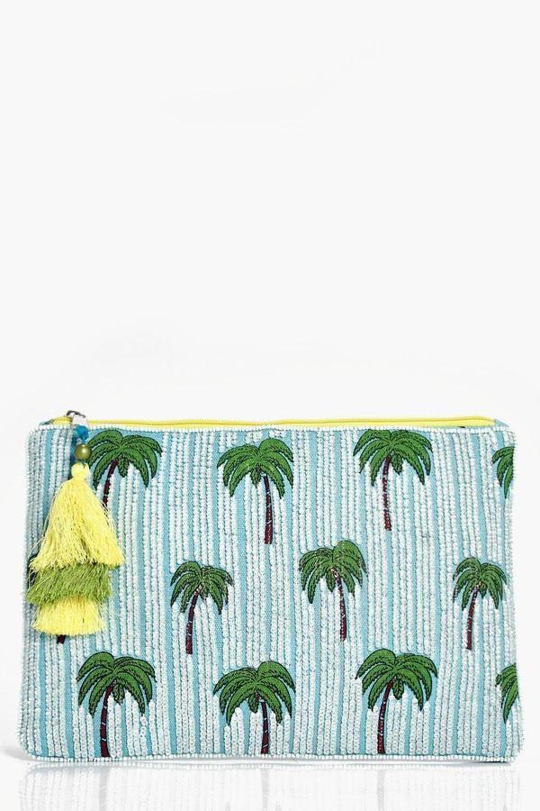 boohoo Hannah Palm Tree Beaded Clutch Bag