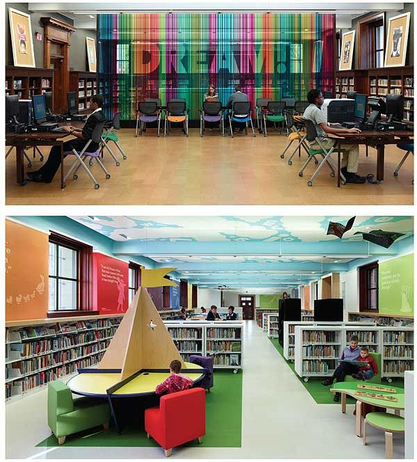 Love the decor of the St. Louis Central Library. Growing Room: St. Louis Public Librarys Grand Central Renovation | Library by Design