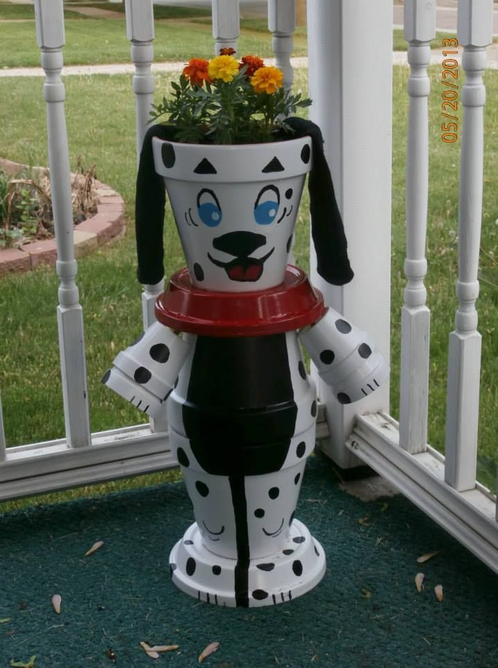 crafts. made of flower pots | This is a flower pot dog I made for my front porch. Do you like it?
