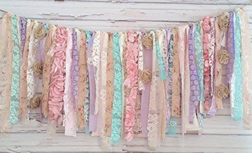 I just simply fell in love with this shabby chic garland. Use it for decorating your baby shower, or birthday or any party. Maybe a shabby chic wedding :) You can buy it, just follow the link.