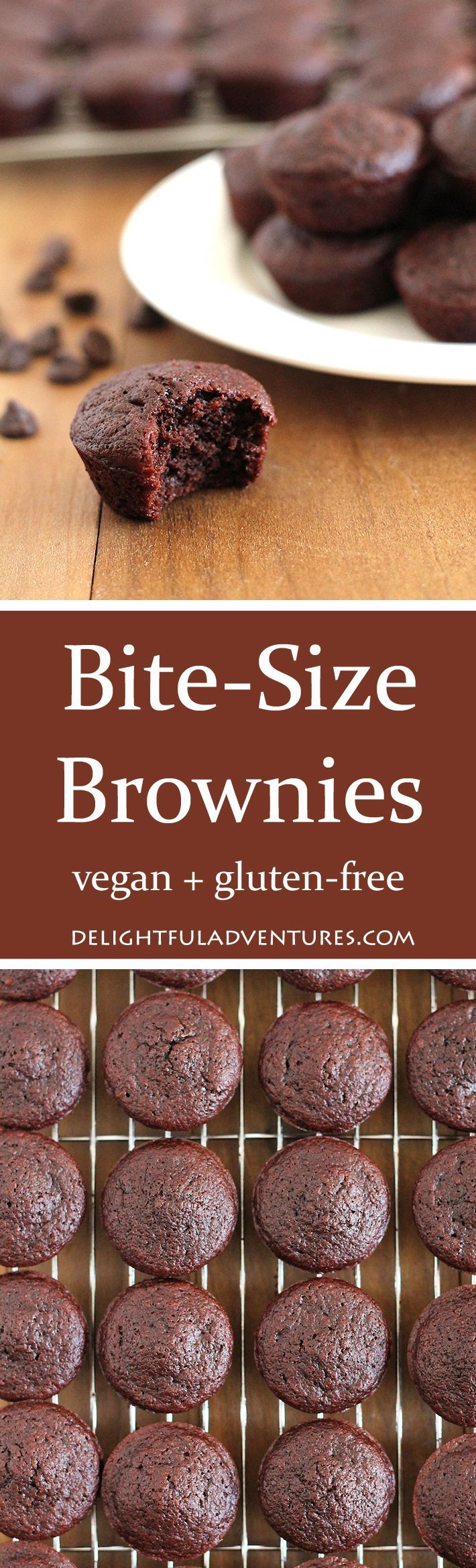 What do you do when you're craving something sweet but you just want a little treat? You make these delicious, vegan gluten free bite-size brownies! via @delighfuladv