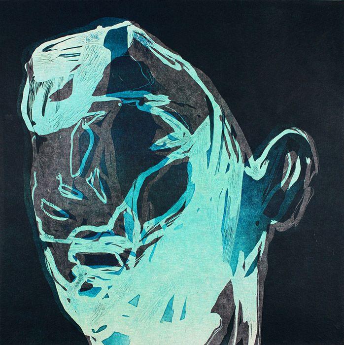 Ari Pelkonen   Ama Gallery  Hollow, 60x60cm, 2015, woodcut and acrylics on…