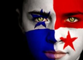 Face painting of the Panama flag