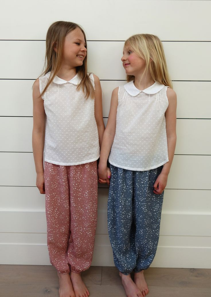 Mauve and Blue Star trousers. Ages 3-10 Years.