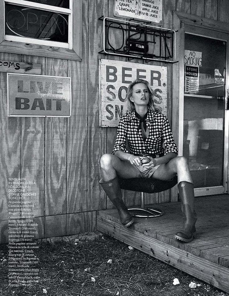 Best Editorials - Blugirl Spring Summer 2015 • Checkered shirt with crystals. • ELLE, Italy - May 2015