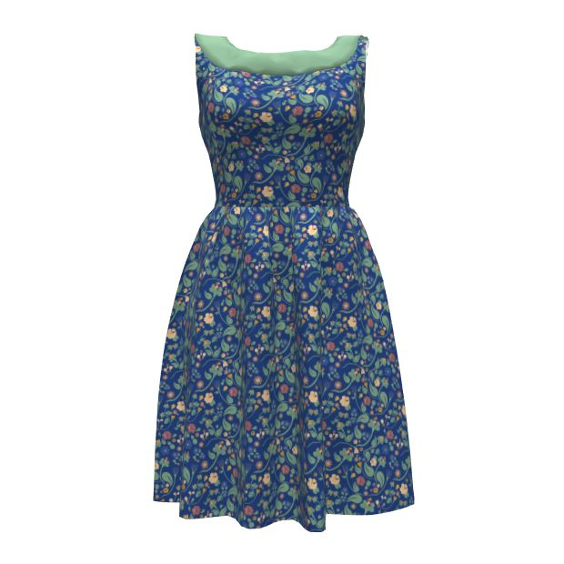 Colette Patterns Moneta Dress made with Spoonflower designs on Sprout Patterns. Swedish folk inspired pattern for a Swedish traditional summer celebration