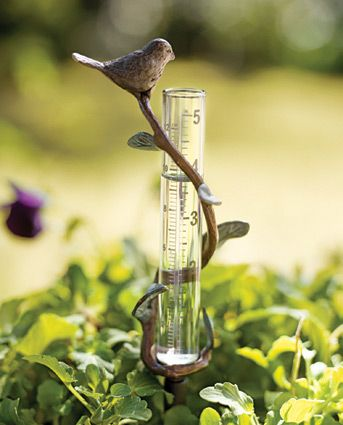 """Crafted of brass and glass, this bird rain gauge measures up to 5"""" of rain."""