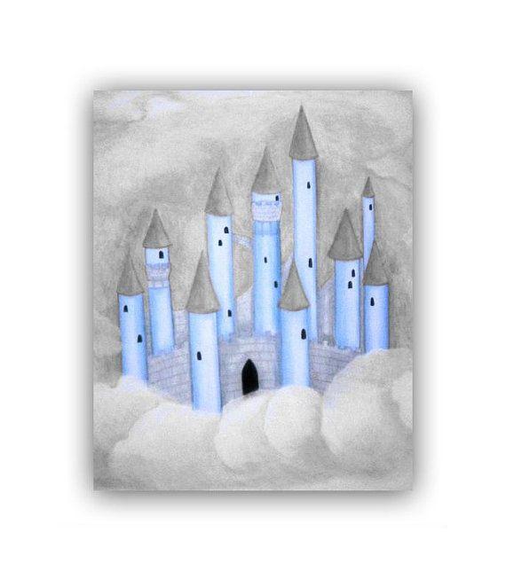 boy nursery castle art print blue grey baby boy nursery childrens wall art prince castle children decor nursery wall art kids decor - Blue Castle Decor