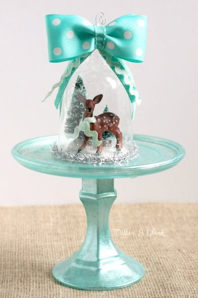 Handmade Deer Snow Globe Ornament - I love vintage ornaments, but they're hard to find in good condition.  I decided to make my own vintage-inspired ornament fr…