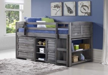 Our all in one twin loft beds will help you get your child's room organized. They include a twin loft bed, a three drawer chest, a two drawer chest with three shelves, and a bookcase with two shelves.