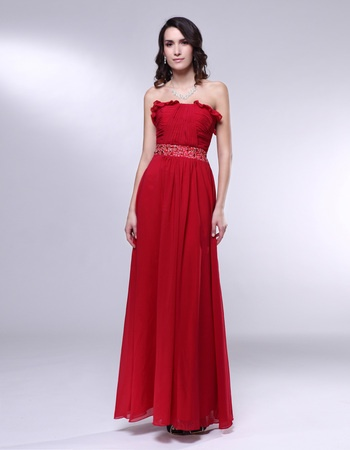 Chiffon Sheath/Column Sweetheart Strapless Floor-Length Evening / Party Dress fe-117 Watermelon 2