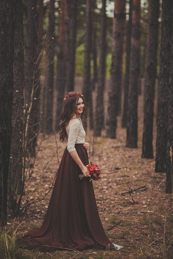 Country Bohemian Wedding dress with a chocolate skirt and lace bodice / http://www.deerpearlflowers.com/unique-sophisticated-wedding-dresses-from-cathy-telle/2/