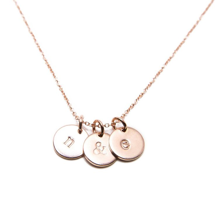 Rose Gold Initial Charm Necklace