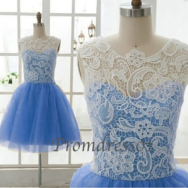 2015 cute round neck blue tulle white lace short prom dress for teens, bridesmaid dress, ball gown, evening dress #promdress #wedding