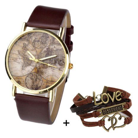 Better Dealz VINTAGE Weltkarte Uhr Lederausstattung Leichtmetall Damen Analoge Quarz Armbanduhr,retro kaffee: Amazon.de: Uhren
