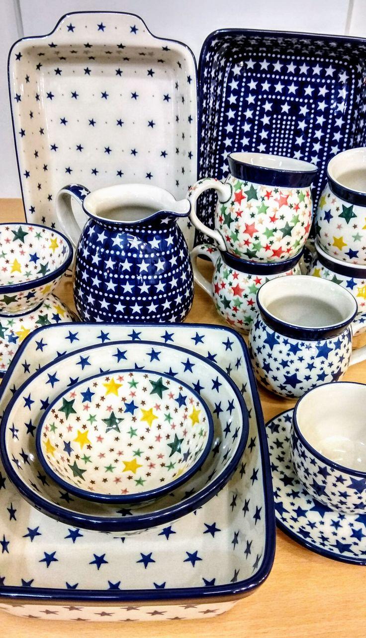 So many stars... almost like at night sky! Shining for the night goddess... Slavica Polish Pottery, slavicapottery.com