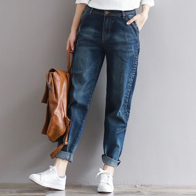 Jeans Boyfriend Harem Vintage Vaqueros Loose Pants Denim Trousers Casual Women Size Big Winter