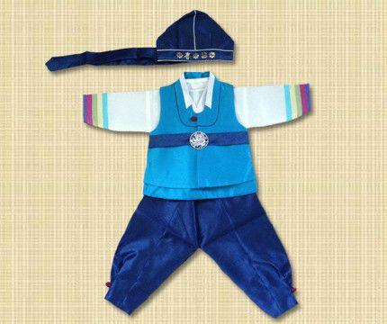 1st Birthday Boy Blue and Navy Stripes Hanbok Rental for Korean dol birthday