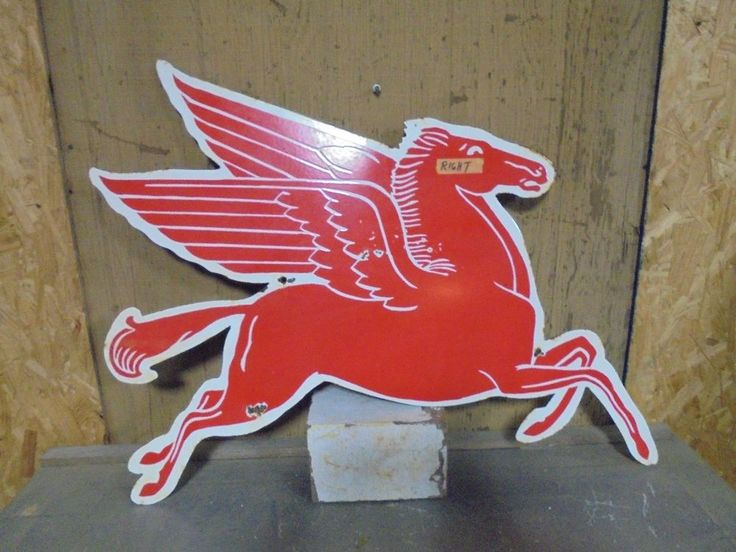 large porcelain mobil pegasus sign garage gas oil station pump not neon rat rod