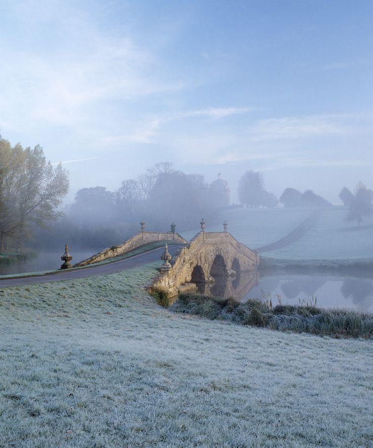 Winter gardens to visit: Oxford Bridge at Stowe Landscape Gardens, Stowe, Buckingham, England