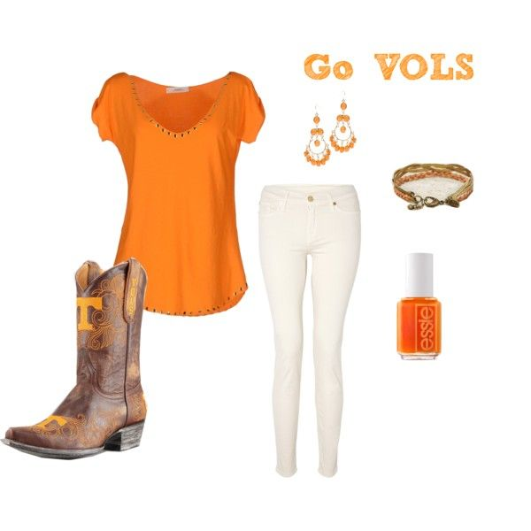 """""""University of Tennessee Game Day Fashion"""" by Gameday Boots #gamedayboots #gamedayfashion #cowboyboots"""