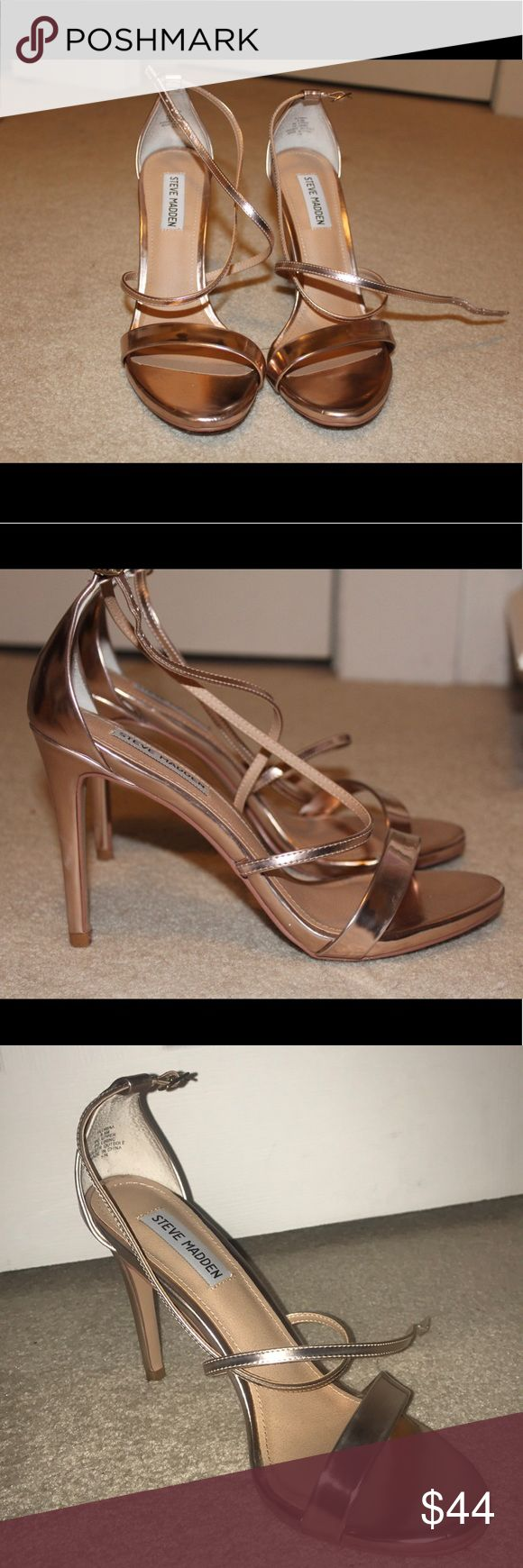 Steve Madden Rose Gold Strapped Heels (almost new) They look really cute on & in good conditions Steve Madden Shoes Heels
