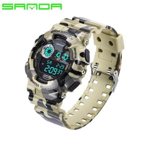 SANDA Mens Sports Watch Digital Luminous Camouflage