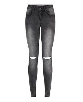 Teens Dark Grey Ripped Knee Skinny Jeans  | New Look