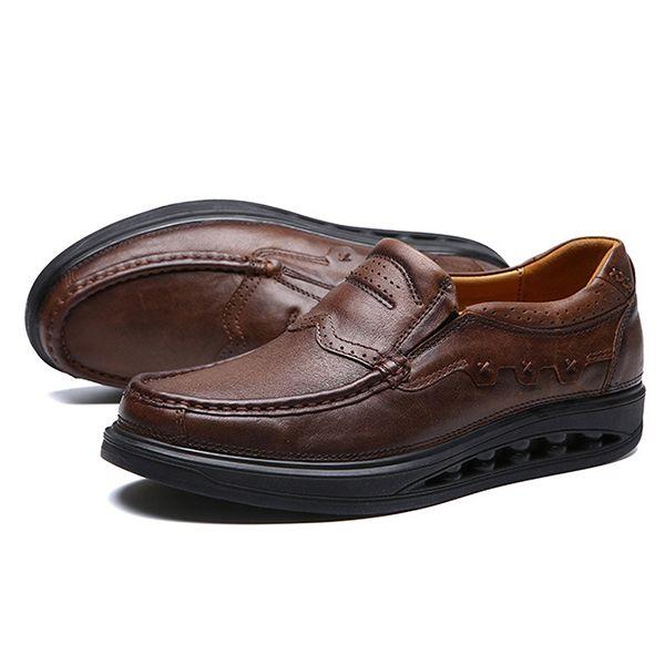 الرجال مريح جلد طبيعي مطاطا باند الانزلاق على الروك وحيد أوكسفورد الأحذية Rocker Sole Shoes Leather