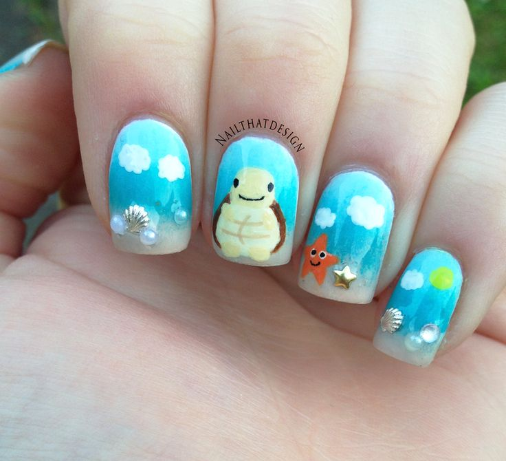 Nailpolis Museum of Nail Art | Quotesome Turtle on the Beach  by Lena