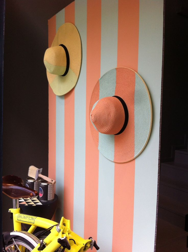 The Paint Makers Shop store window. #summer Stripes in: color n. 44 Floralia color n. 80 Kelly Pastel Special guest: Brompton folder bike #windowdisplay #design #colorpalette  The Paint Makers Co.  Extraordinarily good Paint