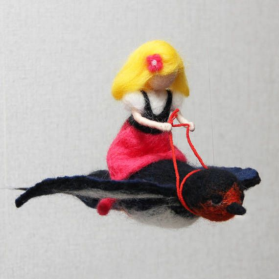 Children Mobile Thumbelina on the swallow. Made of wool.
