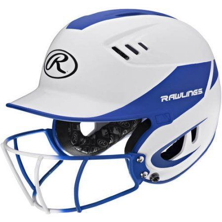 Rawlings Velo Junior 2-Tone Home Softball Helmet with Mask, Blue