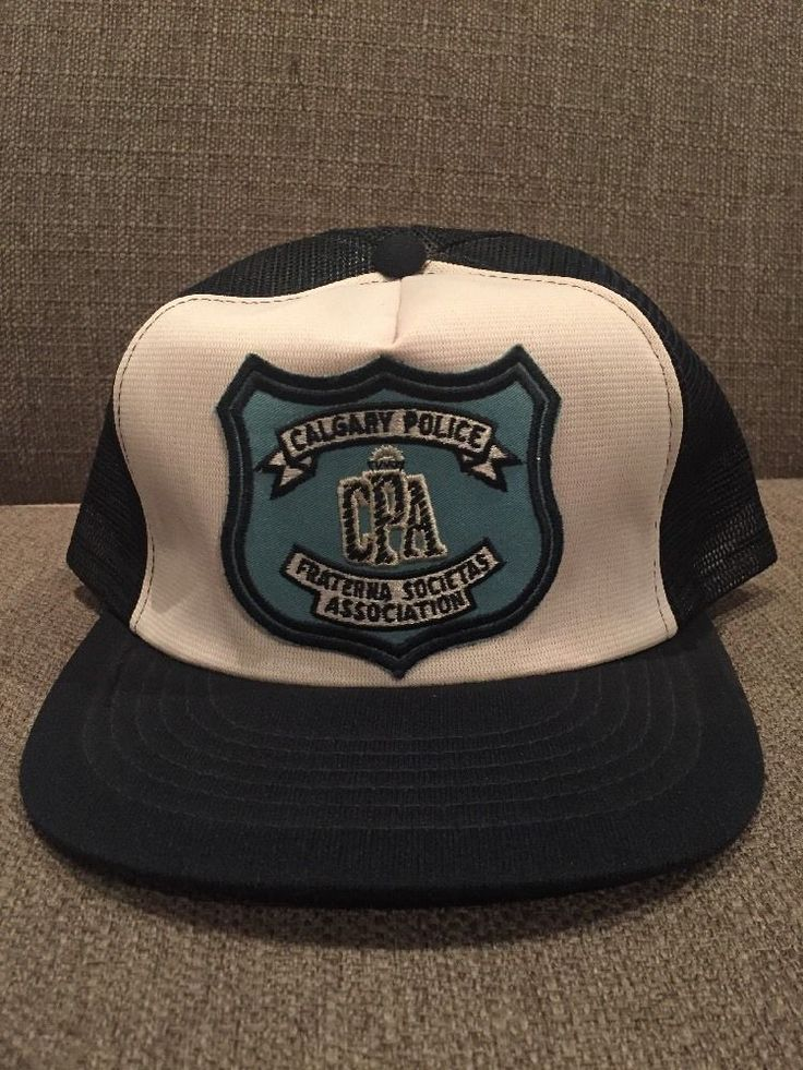 Vtg Calgary Police Association Trucker Hat Mesh Snap Back White Blue Alberta AB  | eBay