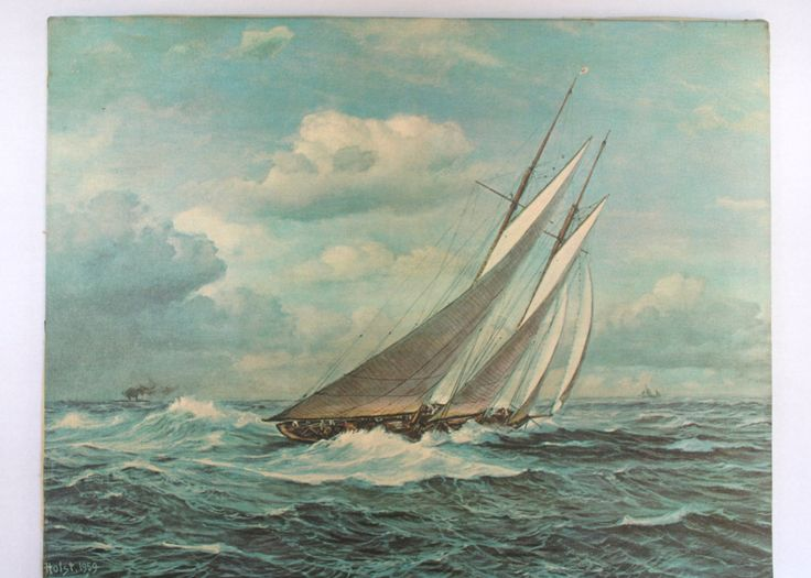 26 best nautical pics sea shells images on pinterest shells johannes holst 1959 sailboat print on canvas by vintiqued on etsy fandeluxe Gallery